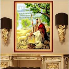 States bank diamond 5D diamond drawing room full of large painted Christ Jesus shepherd cross stitch diamond embroidery