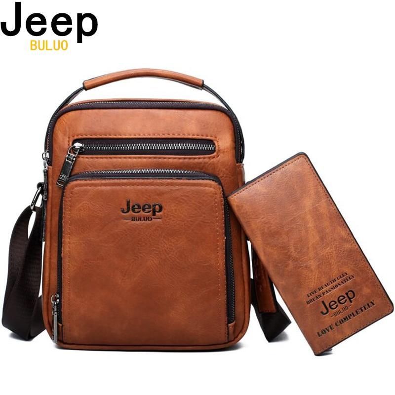 JEEP BULUO Brand Men Bags 2pce set Crossbody Business Casual Handbag Male Spliter Leather Messenger Shoulder Bag For iPad