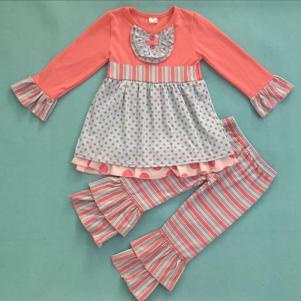 Новый дизайн осень зима детские розовые рюшами топы и брюки детский наряд горчичный пирог римейк бутик девушка одежда F225