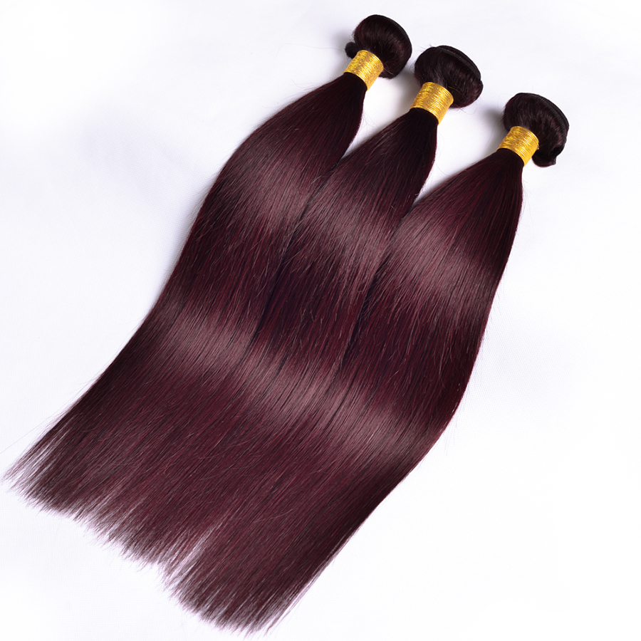 ALIPOP Burgund Peruvian Straight Hair Bundles Human Hair Bundles 3PC - Menneskehår (sort) - Foto 2