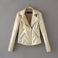 Hot Sale Women Fashion Leather jacket Ladies Soft Faux Leather Gold Jacket PU Jackets Coats
