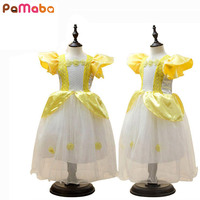 Girls Dress Princess Belle Dress Halloween Party Dress Cosplay Constume Mesh With Printing Flower Petal Sleeve