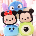 1pc 21cm Cartoon Plush Car Pillow Mickey and Minnie Mouse, Moster, Stitch Plush Toy Creative Plush Nap Pillow