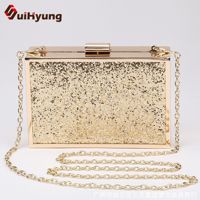 Free Shipping New Fashion Female Glitter Evening Bag Gold Alloy Frame Hard Box Day Clutch Women