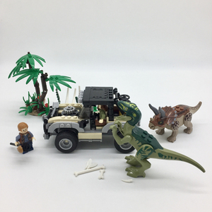 NEW Jurassic World Park Capture Owen and Blue Velociraptor Building Blocks Set Bricks Model Kids Toys Gift Compatible Legoings
