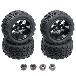 4pcs/Lot Rubber RC Truck Tires & Wheel Rims Hex 12mm For EP 1/10 Scale Electric Power Off Road Redcat Volcano EPX 4WD Model