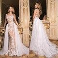 Modest 2017 Detachable Train Wedding Dresses Ivory Lace Applique Champagne Lining Vintage Bridal Gowns