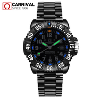 Sport Watch Top Brand Carnival Tritium self luminous Watch Men Diving Mens Watches Quartz Calendar Waterproof Relogio Masculino