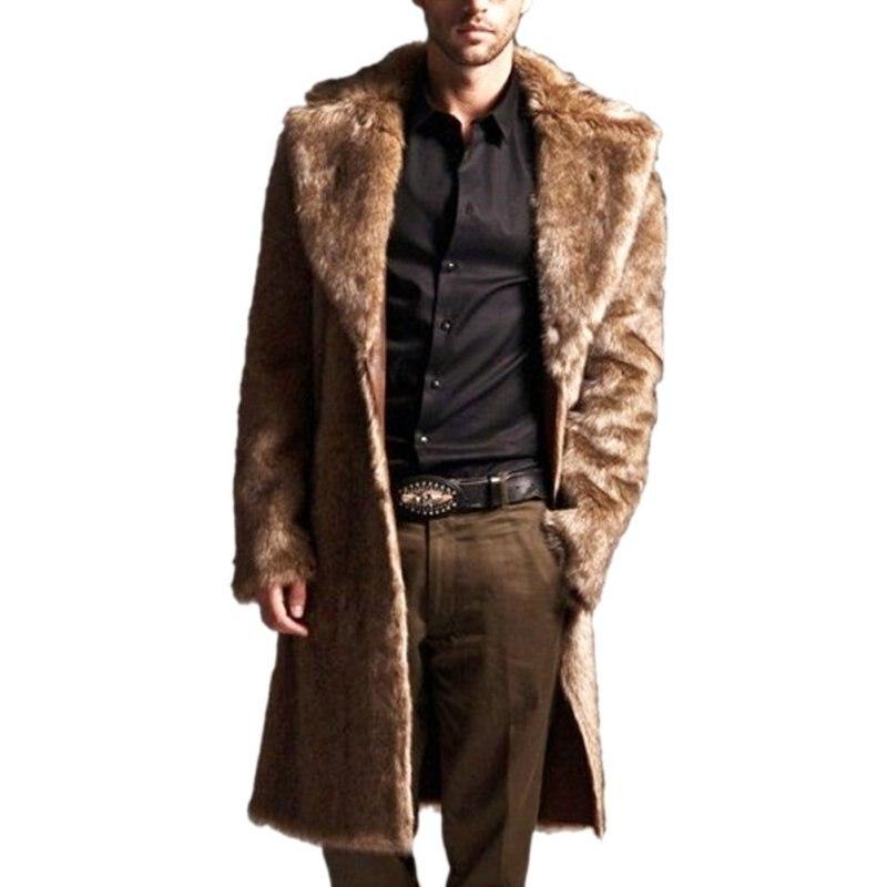 YO Men Faux Fur Coat Long Sleeve Winter Warm Black Fur Coats Rabbit Turn-Down Collar Plus Size Fur Jacket