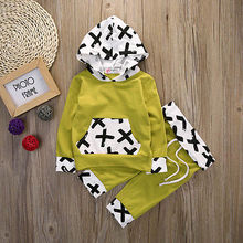 Hot New 2PCS Set Baby Boys Warm Hooded Tops Coat Pants Outfits Toddler Clothes Bodysuit