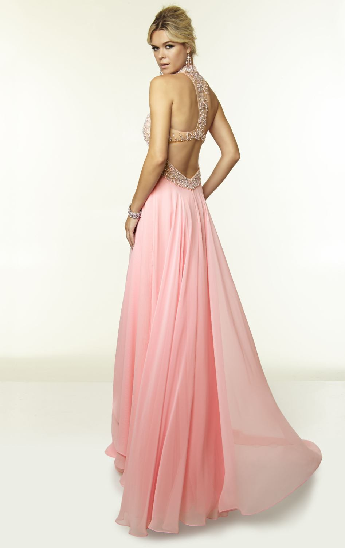 Light Pink Long Prom Dresses Chiffon Light Sky Blue Open Back Dress with  Crystals 2015 High Neck Vestidos Prom Dress 92b35ee38d86