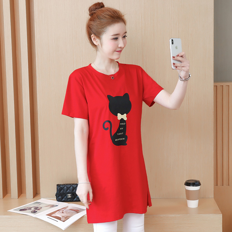 2018 Large size Women T-shirt dress summer Short sleeve Cats print Top Tees Casual O-neck Loose Female Tshirt Plus size 5XL J215 5