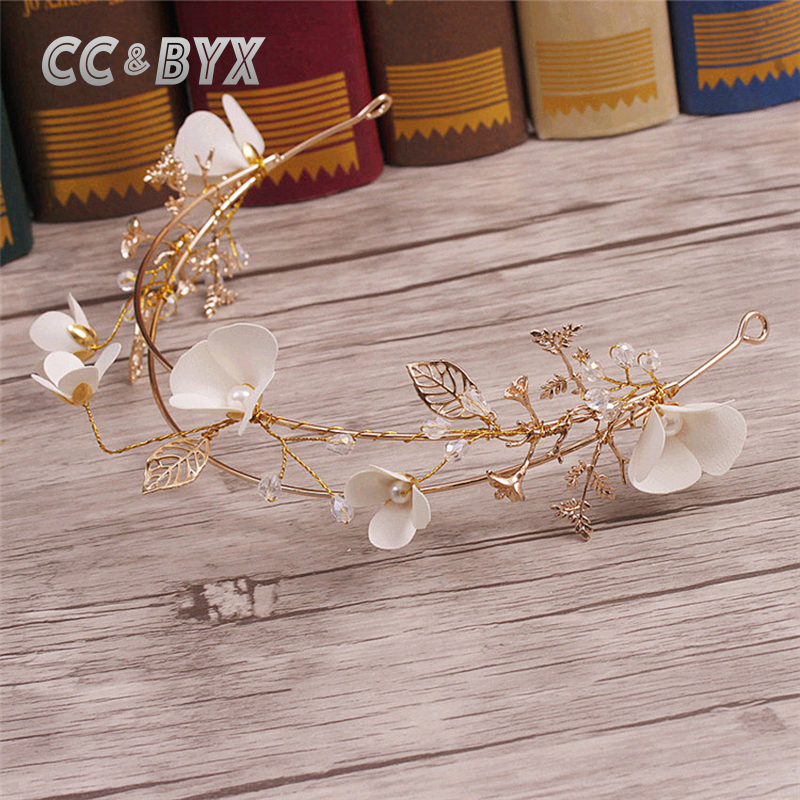 CC&BYX Tiara Hair Ornaments Trendy Flower Hairbands For Girl Wedding Party Bridal Hair Accessories Headband Crown Jewelery 7055