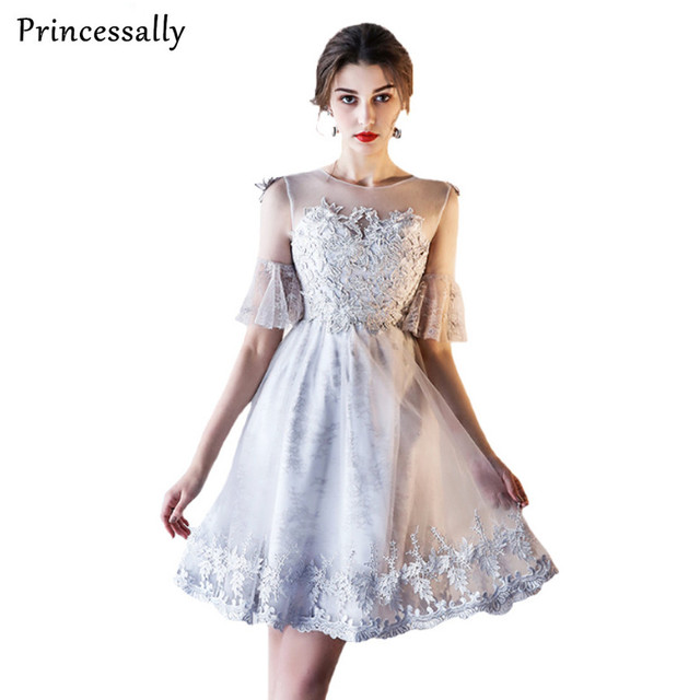 2017 New Princessally Grey Elegant Lace Bridesmaid Dresses Banquet  Embroidery Custom Party Formal Short Dress