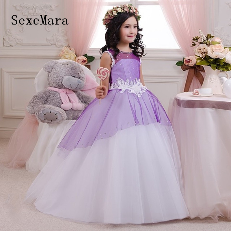 New Customized Color   Flower     Girls     Dress   for Wedding Purple Puffy Tulle Pearls Communion Party   Dress   Pageant Gown for   Girls