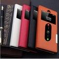 Capa de couro genuíno, oneplus dois 2 caso Real telefone um mais dois 2 virar suporte magnético bolsa 2 ver janela