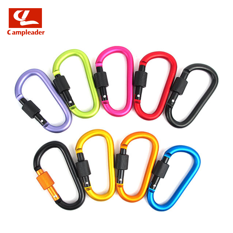 Campleader 8cm Multi-color Aluminum Alloy Carabiner D-Ring Key Chain Clip Camping Keyring Snap Hook Outdoor Travel Kit CL128 tourbon tactical rifle gun sling with swivels shotgun carrying shoulder strap black genuine leather belt length adjustable