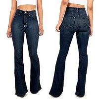Women's Fashion Casual Denim Pants Juniors Bell Bottom High Waist Fitted Denim Jeans Women Bottoms