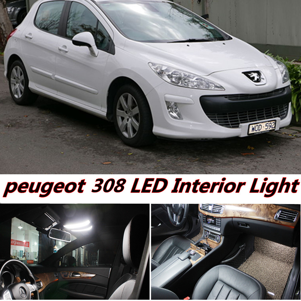 7pcs X free shipping Error Free LED Interior Light Kit Package for peugeot 308 accessories 2008- 2016 free shipping new arrival 35pcs pack 2m pcs led aluminum profile for led strips with milky or transparent cover and accessories