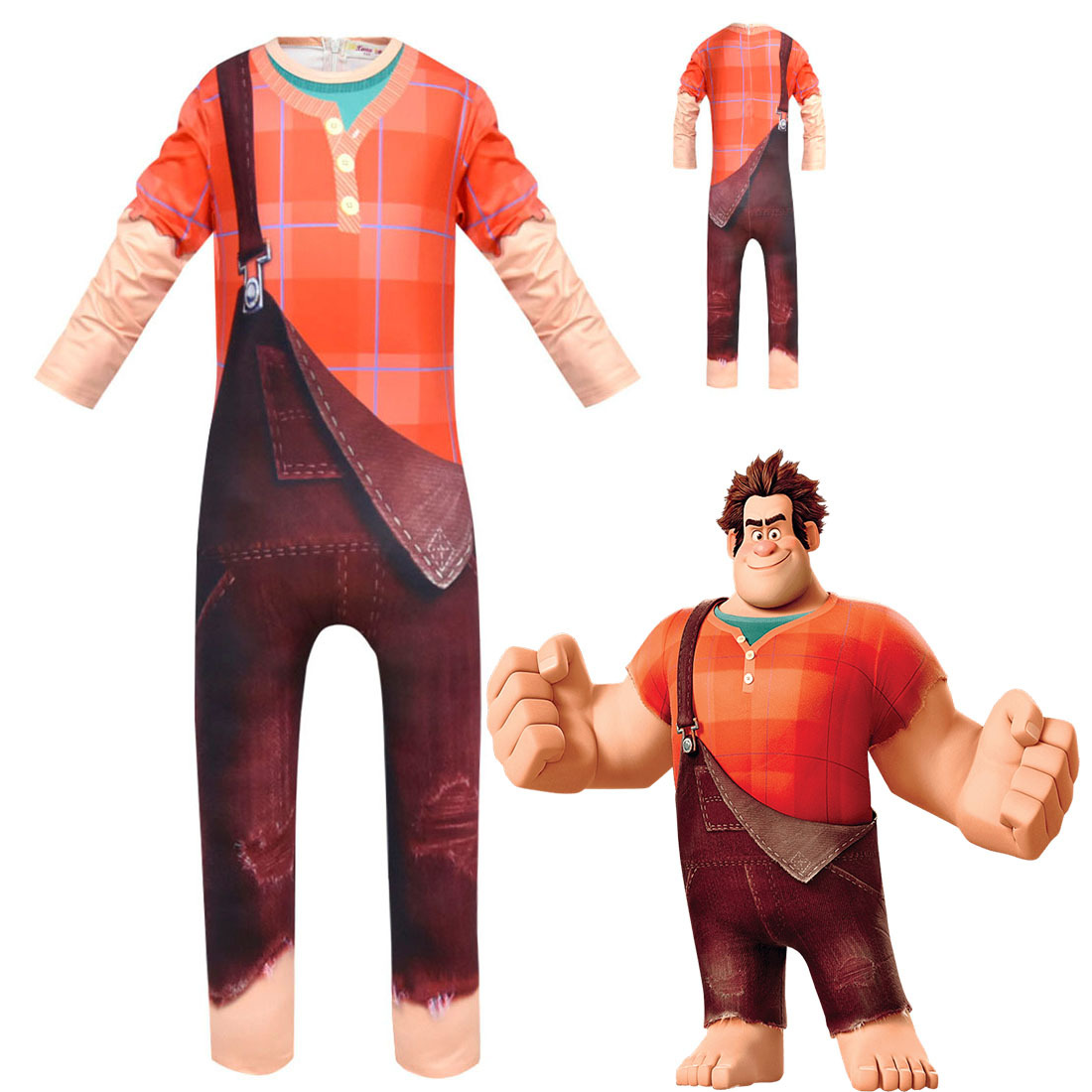 kids spiky hair Wreck-It Ralph red clothes Boy Cosplay hamfist Clothes Halloween Ralph Costume Funny Kid Clothing Fix-It Felix