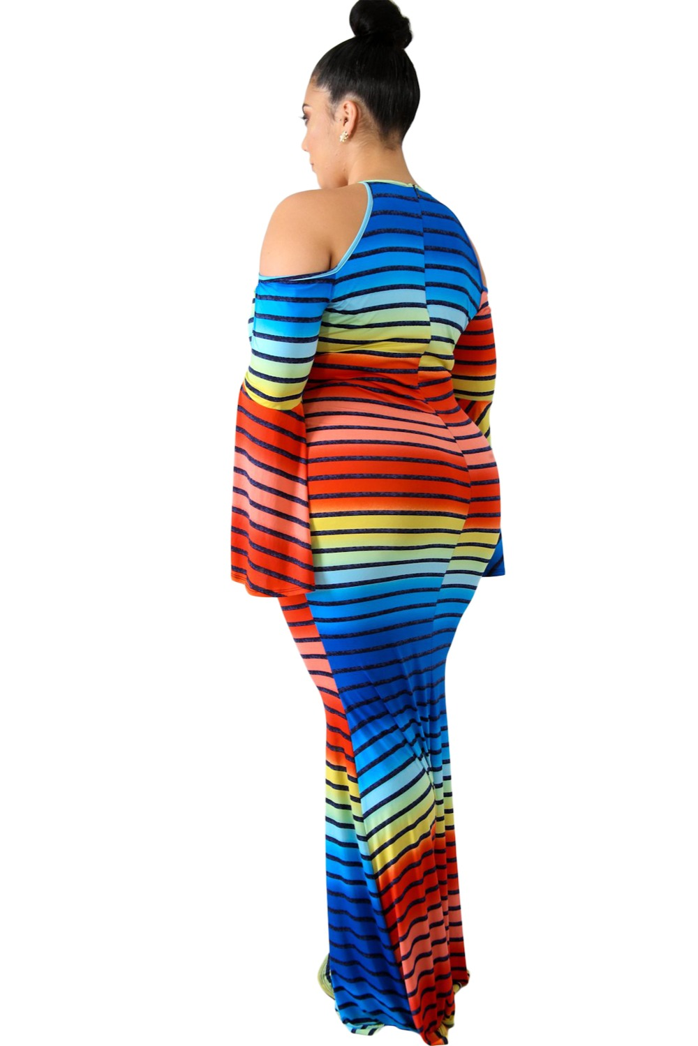 Gosopin Striped Cold Shoulder Plus Size Dress Women Maxi Autumn ... 250d67db5c29