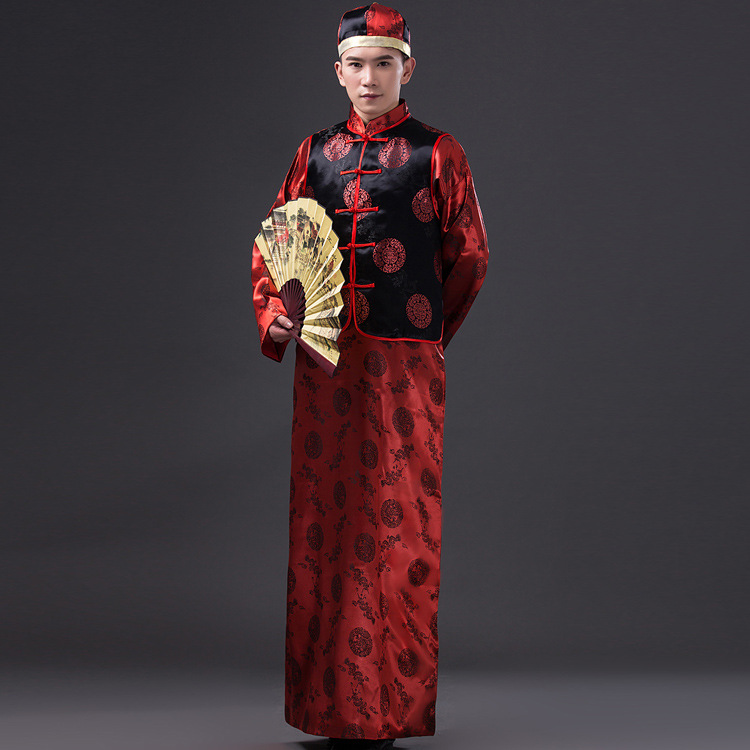 Men Chinese Folk Costume Robe + Vest Dance Costumes Hmong Clothes Ancient Chinese Costume Men Qing Dynasty Landlord