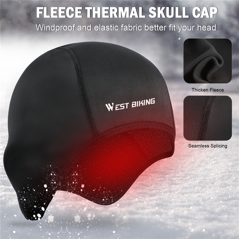 WEST BIKING Cycling Caps Winter Warm Fleece Hats Thermal Bicycle Cap Headwear Gorra Ciclismo Windproof Running Skiing Bike Caps in Cycling Caps from Sports Entertainment