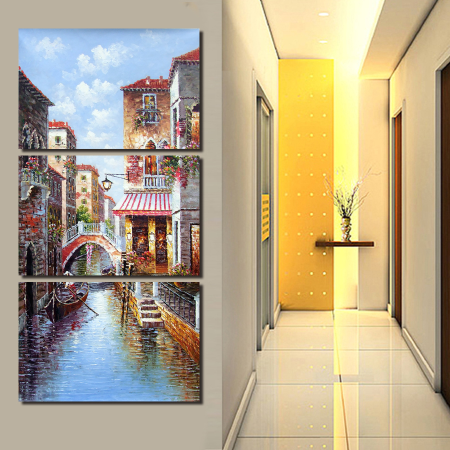 City Building Wall Painting Beautiful 3 Panels Large Top Rated ...