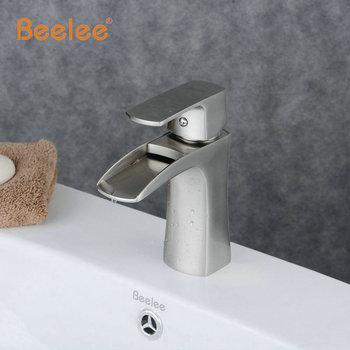 Beelee Contemporary  Nickel Brushed Waterfall Bathroom Sink Faucet (Short)-  Cross Handle Basin Mixer Tap BL0556N