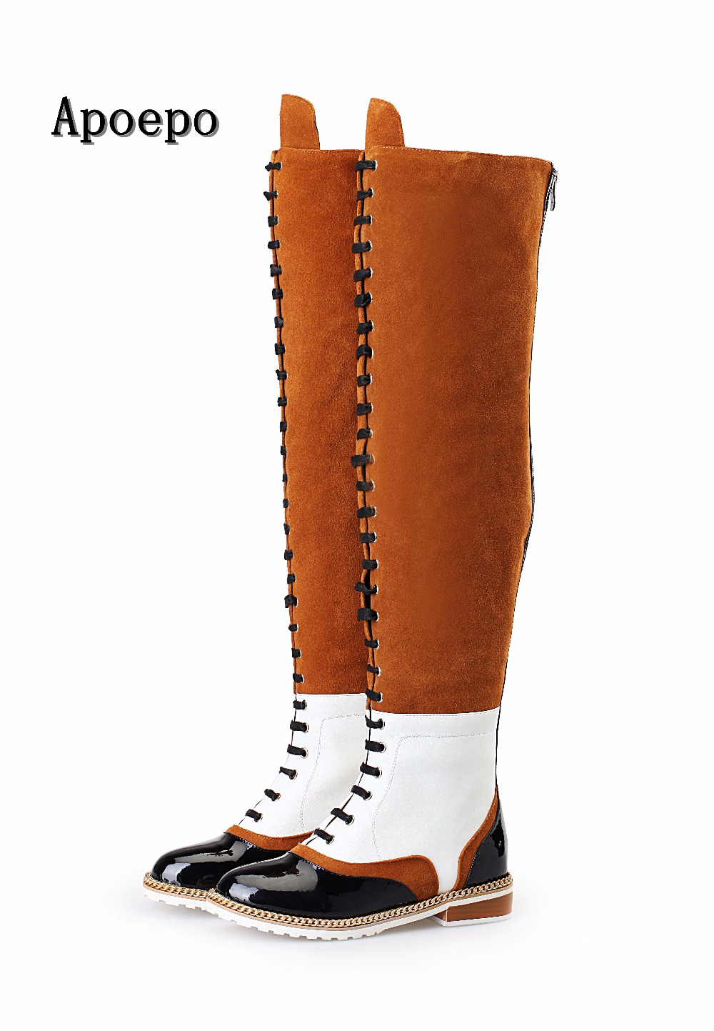 Apoepo brand High quality leather patchwork over the knee boots round toe lace-up thigh high boots woman fashion long boots womens lace up over knee high suede women snow boots fashion zipper round toe winter thigh high boots shoes woman