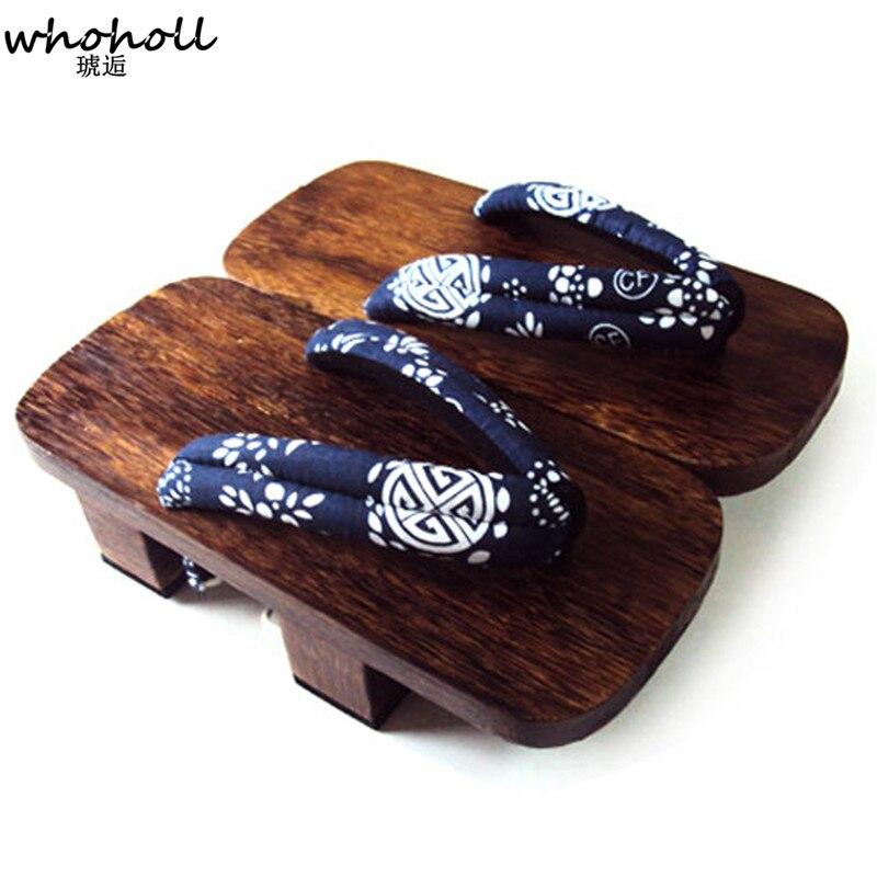 Japanese Kimono Flip Flops Sandal Dragon Geta Clog Wood Flat Heel Slipper Men