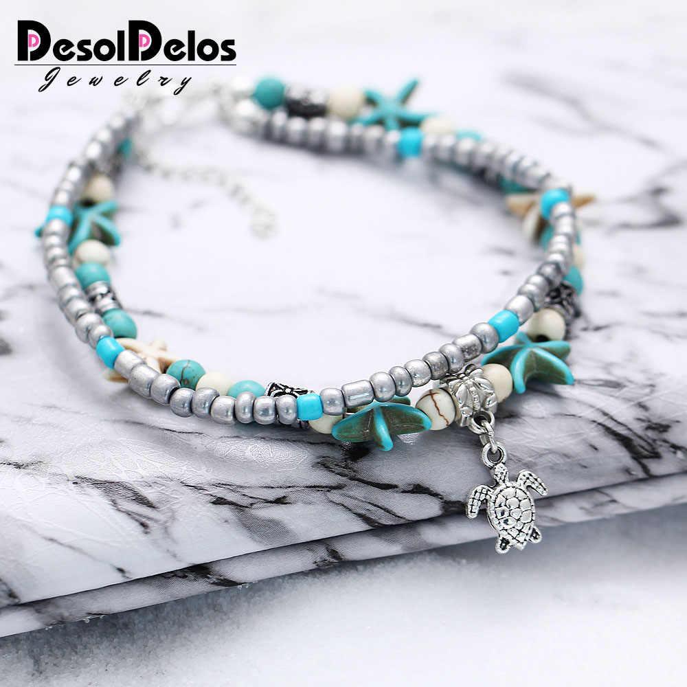 DesolDelos Bohemian Crystal Stone Anklets Double Beach Foot Chain Conch Starfish Alloy Turtle Pendant Leg Bracelet Women Jewelry