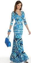 Dresses New Real Freeshipping Silk Cotton Beach Print Dress Fashion T 2015 Slim Waist V-neck Ultra Long Elastic One-piece Dress