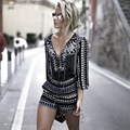 Fashion Summer Women Jumpsuit Casual 3/4 Sleeve V-neck Jumpsuits Rompers Striped Beachwear Clubwear Summer Overall Playsuit 41