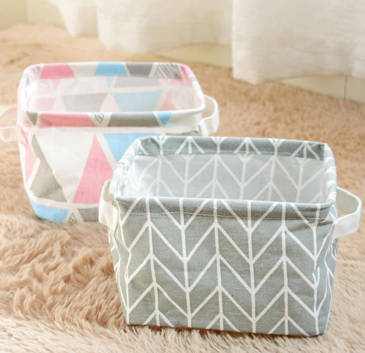 Складная корзина для хранения холщовая ткань водонепроницаемый органайзер для детской игрушки макияж настольная организация с ручкой 3 цвета