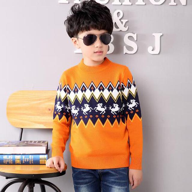 Outono & Inverno Camisola Crianças Menino de Lã Blusas de Tricô Padrão de Lã com Algodão de Manga Longa Roupas Top Meninos Roupas de Desenhos Animados