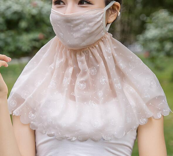 Women's Summer Sunscreen Lace Mask Lady's PM 2.5 Breathable Face Neck Uv Protection Mouth-muffle R871