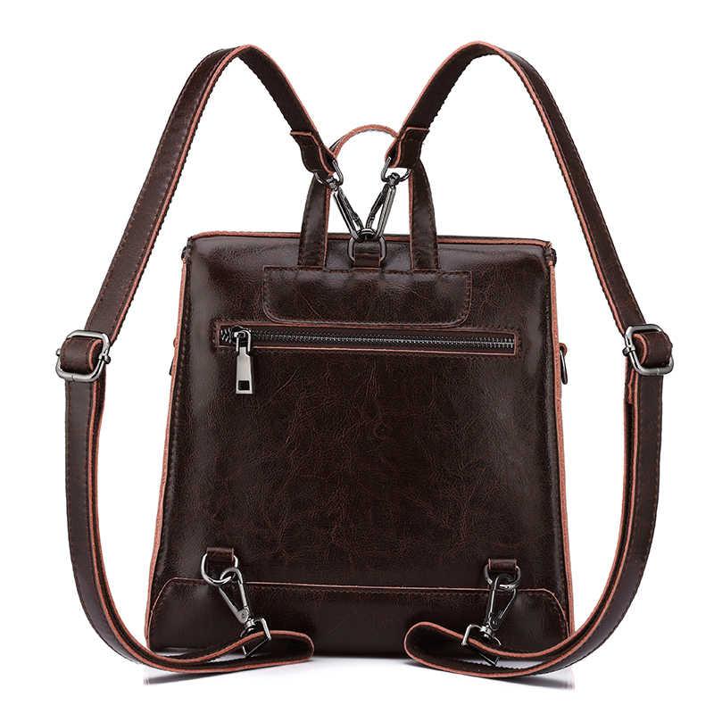 REALER vintage kadın sırt çantası, petrol balmumu deri sırt çantası kadınlar için, bayanlar okul gençler için çanta kız kadın omuzdan askili çanta