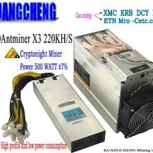 AntMiner X3 220KH/S Asic шахтер с PSU. CyrptoNight врубовая машина заработок соотношение Antminer S9 высокого. Не могли бы вы горно-KRB XMC DCY ETN