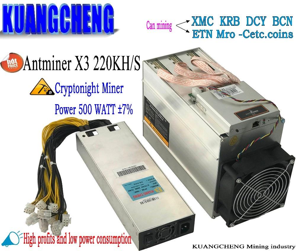 Verwendet alten 70-80% neue AntMiner X3 220KH/S Asic miner mit NETZTEIL CyrptoNight Ergebnis Antminer S9 hohe können bergbau KRB XMC DCY ETN