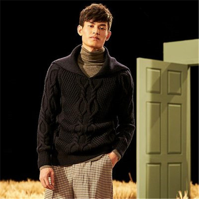 New Fashion 100% Hand Made Pure Wool Big Turn-down Collar Knit Men Solid Thick Pullover Sweater One&over Size