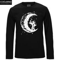 Top Quality Fashion Digging The Moon Print Men T Shirt 100 Cotton Mens Tshirt Long Sleeve