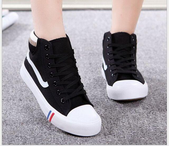 Otoño/Invierno Moda High Top Zapatos de Lona Para Las Mujeres Zapatos Casuales Zapatos de Los Estudiantes Pisos Transpirables