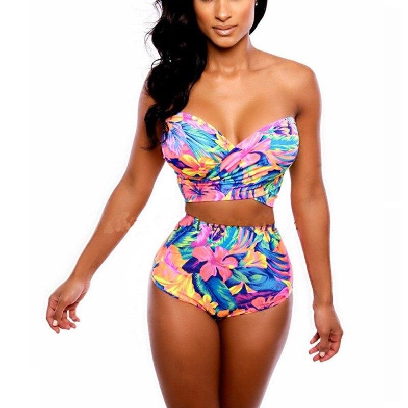 Stylish Women Bikini Swimsuit Print Backless Beachwear BathingSuit Women