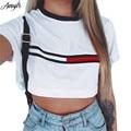2017 Verano Impresión Floja Camiseta de La Señora Tops Chicas Dulce Nueva Moda Ombligo Expuesto Multi-estilo de Mitad de La Cintura de Manga Corta camiseta