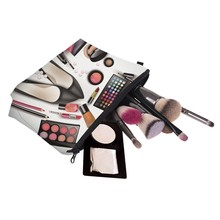 Hot Lady Organizer Pouch Storage Makeup Bag Gifts Women Zipped 3D Shoes Eyeshadow Lipstick Printing Travel Cosmetics Bag Popular(China)