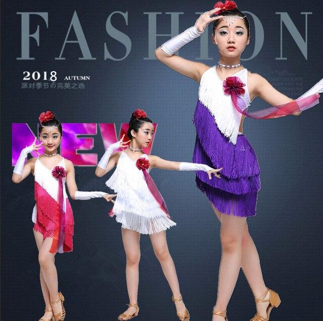 42e2ecad9 Sequin tassel latin dance dress for girl salsa kids dresses ...