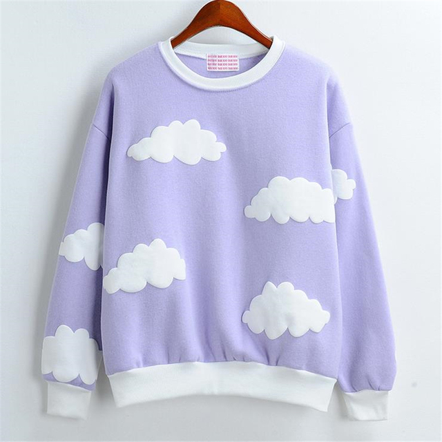 Outwears outono Inverno Harajuku bonito Impressão 3D nuvens impresso grosso em torno do pescoço mulheres pulloversplus veludo quente tops moletons