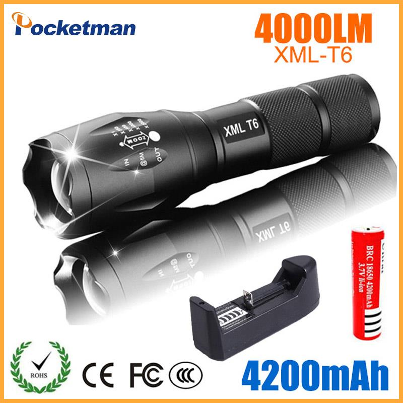 LED Rechargeable Flashlight XML T6 Linterna Torch 4000 Lumens 18650 Battery Outdoor Camping Powerful Led Flashlight Z30
