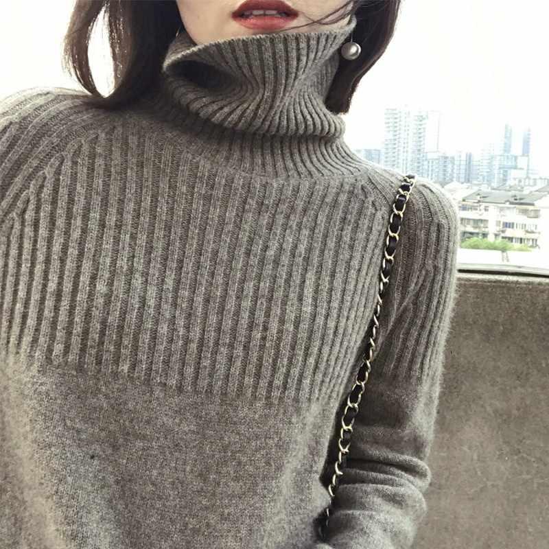2019 새로운 가을, 겨울 캐시미어 울 스웨터 여성의 높은 칼라 느슨한 풀오버 게으른 바람 대형 두꺼운 스웨터